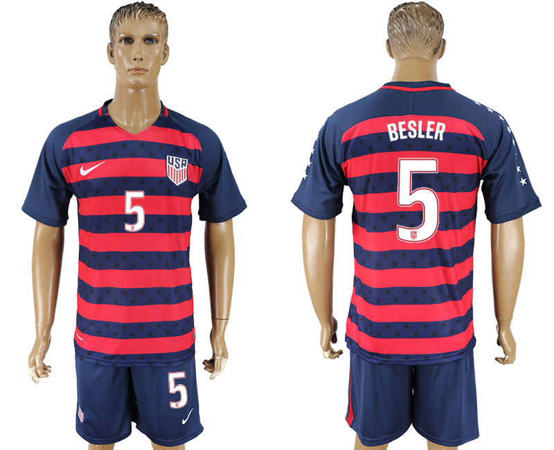 Men 2017-2018 National United States away 5 blue soccer jersey