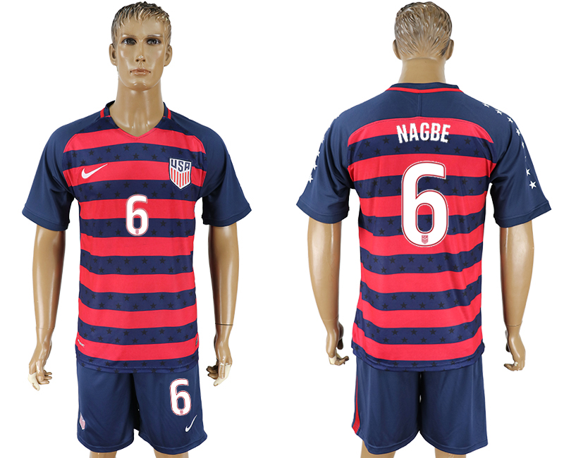 Men 2017-2018 National United States away 6 blue soccer jersey1