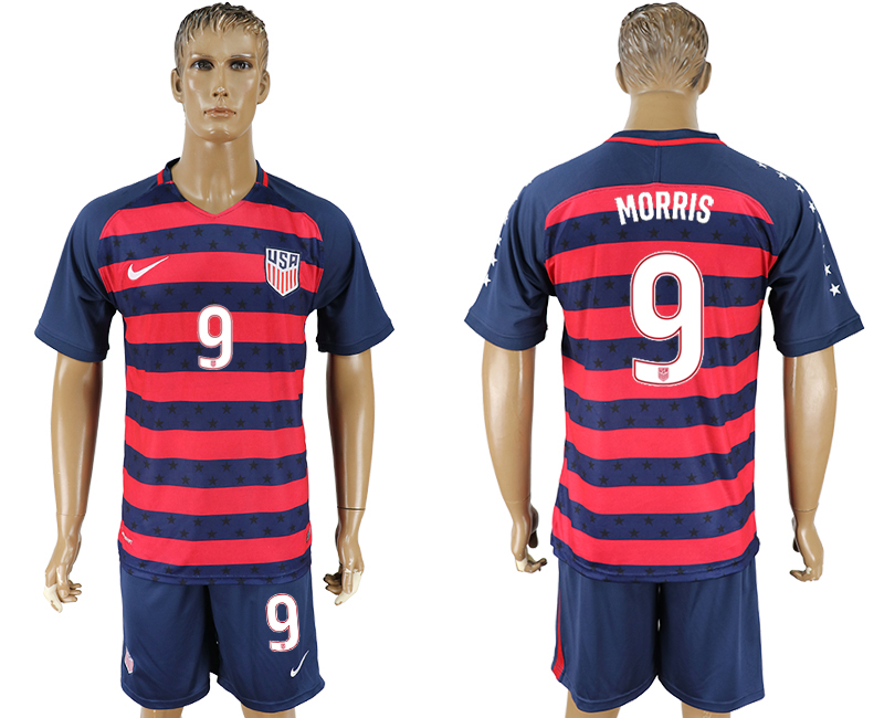 Men 2017-2018 National United States away 9 blue soccer jersey