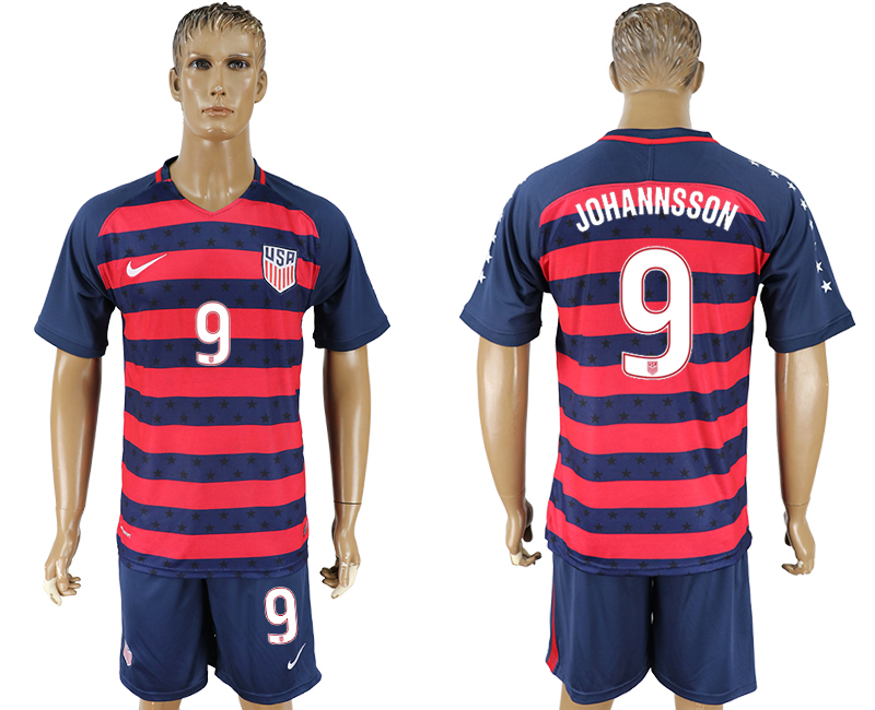 Men 2017-2018 National United States away 9 blue soccer jersey2
