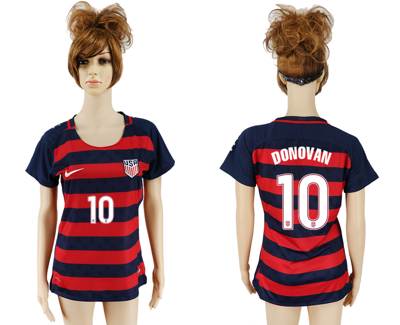 Men 2017-2018 National United States away aaa women 10 red soccer jersey3