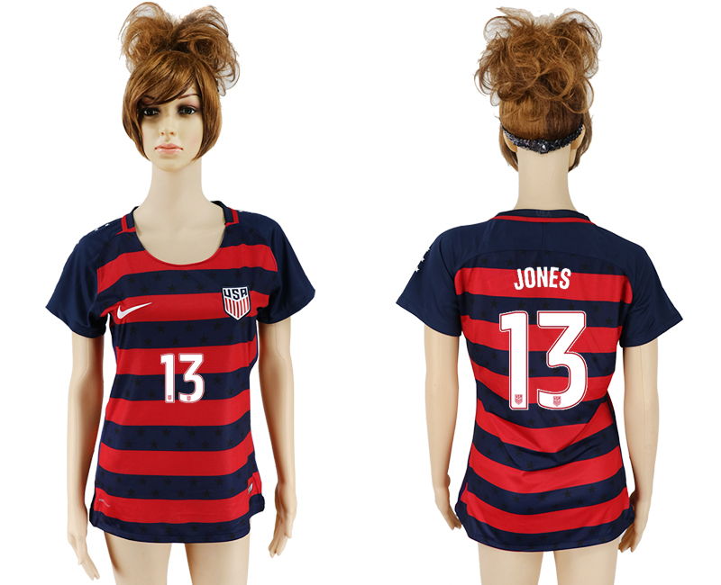 Men 2017-2018 National United States away aaa women 13 red soccer jersey1