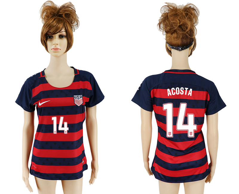 Men 2017-2018 National United States away aaa women 14 red soccer jersey