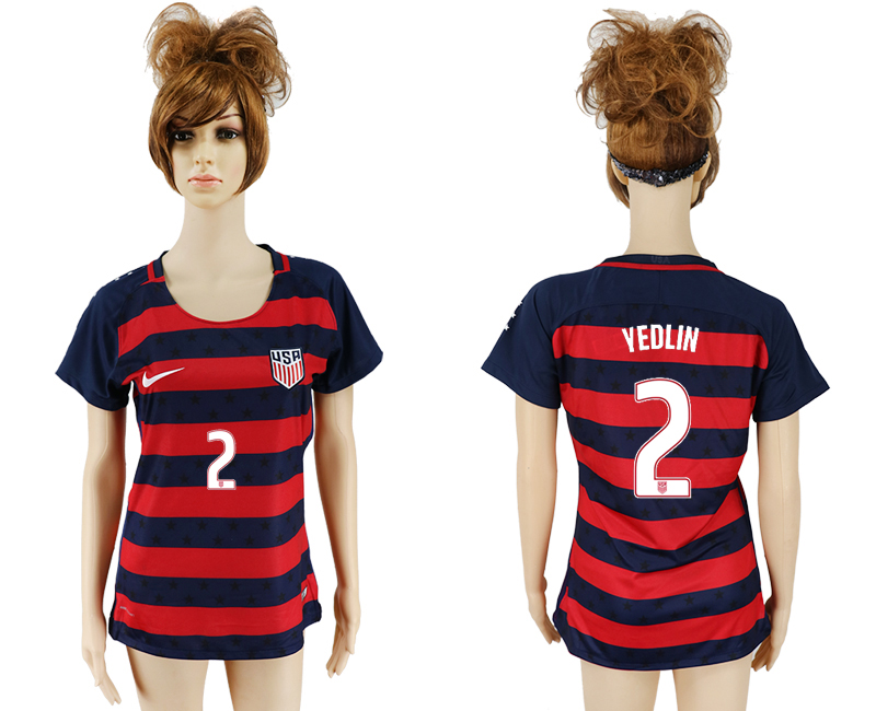 Men 2017-2018 National United States away aaa women 2 red soccer jersey