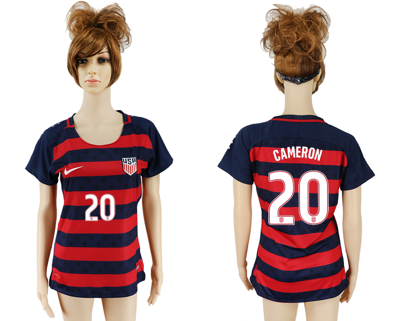 Men 2017-2018 National United States away aaa women 20 red soccer jersey