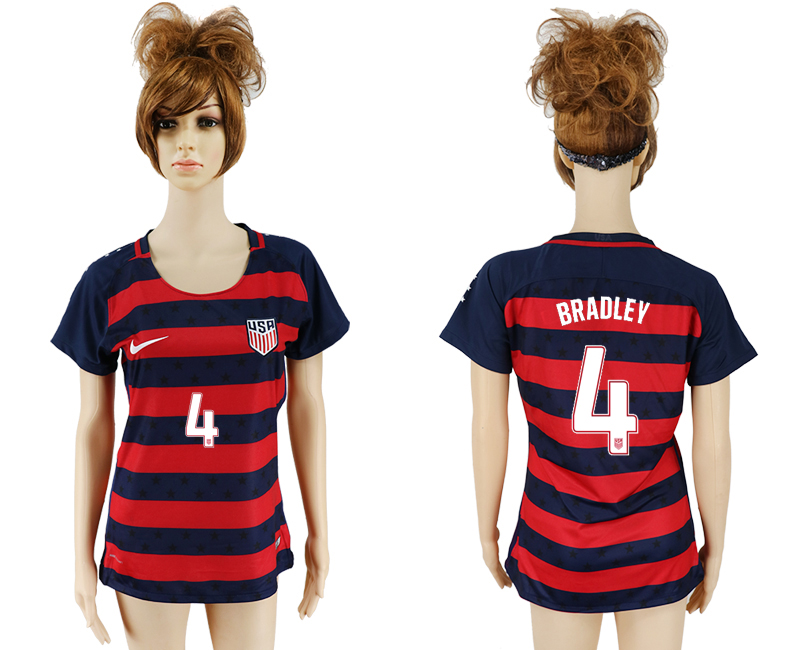 Men 2017-2018 National United States away aaa women 4 red soccer jersey