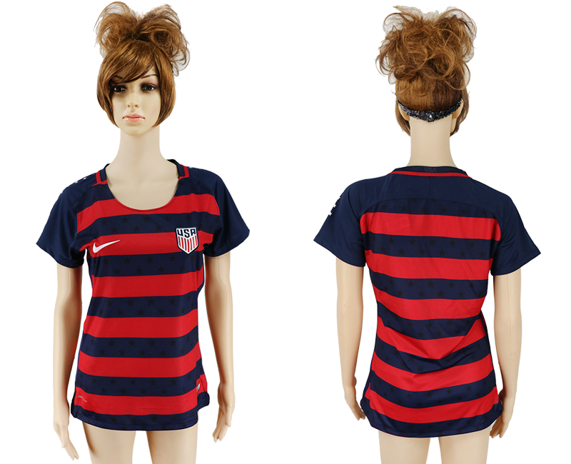Men 2017-2018 National United States away aaa women blank red soccer jersey