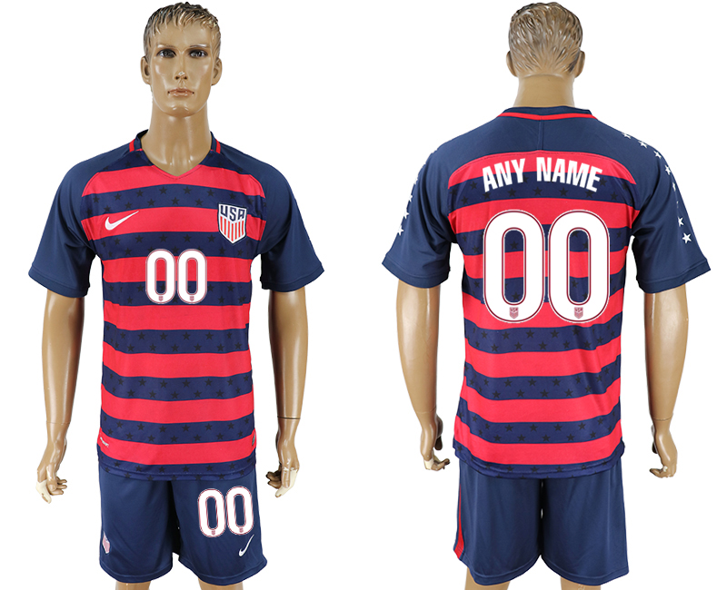 Men 2017-2018 National United States away customized blue soccer jersey