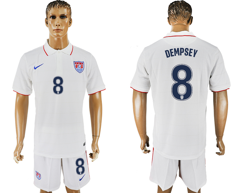 Men 2017-2018 National United States home 8 white soccer jersey