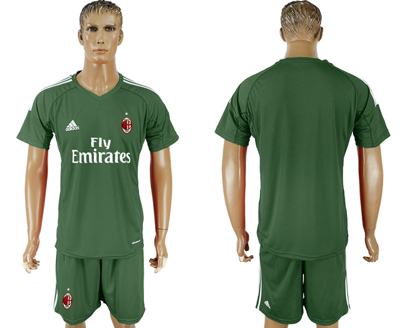 Men 2017-2018 club AC milan Military goalkeeper blank green soccer jersey