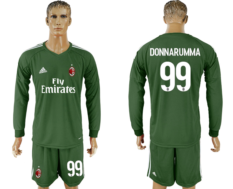 Men 2017-2018 club AC milan Military green goalkeeper Long sleeve 99 soccer jersey