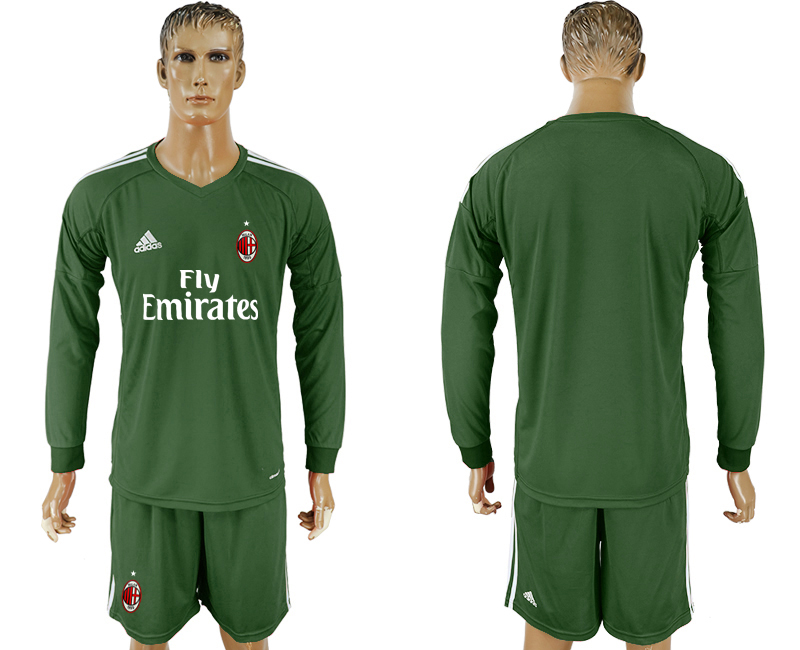 Men 2017-2018 club AC milan Military green goalkeeper Long sleeve blank soccer jersey