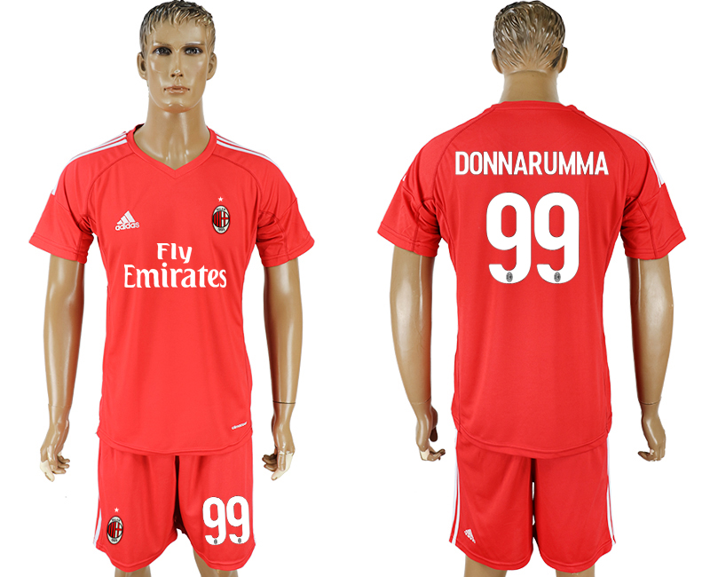 Men 2017-2018 club AC milan red goalkeeper 99 soccer jersey