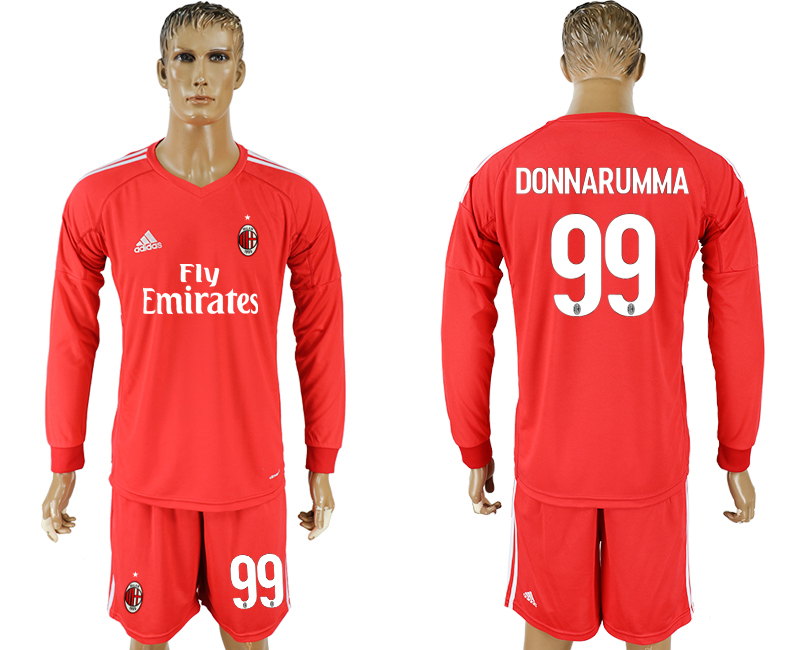 Men 2017-2018 club AC milan red goalkeeper Long sleeve 99 soccer jersey