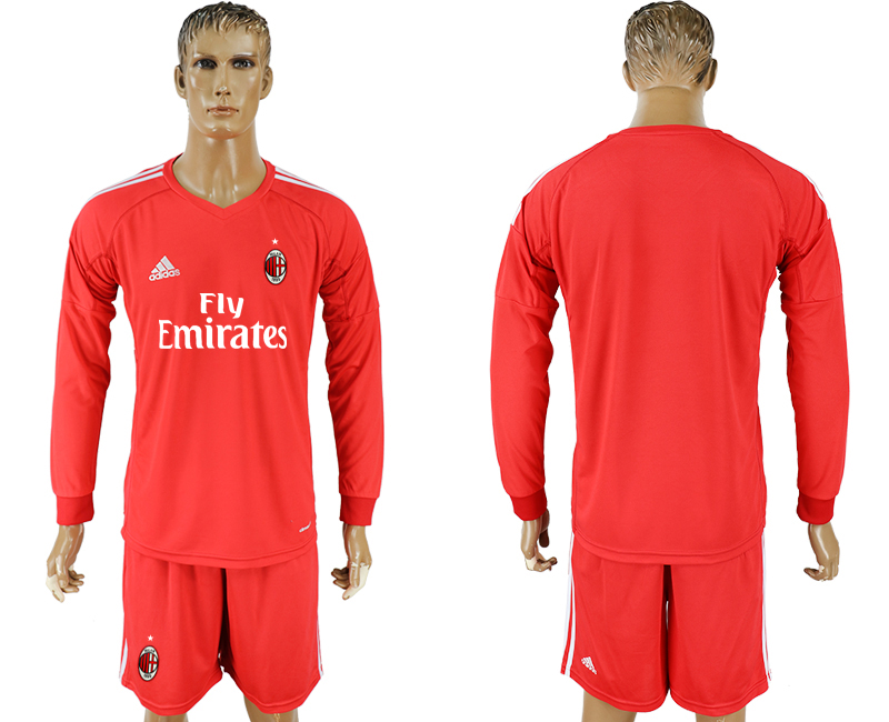 Men 2017-2018 club AC milan red goalkeeper Long sleeve blank soccer jersey