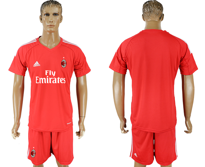 Men 2017-2018 club AC milan red goalkeeper blank soccer jersey
