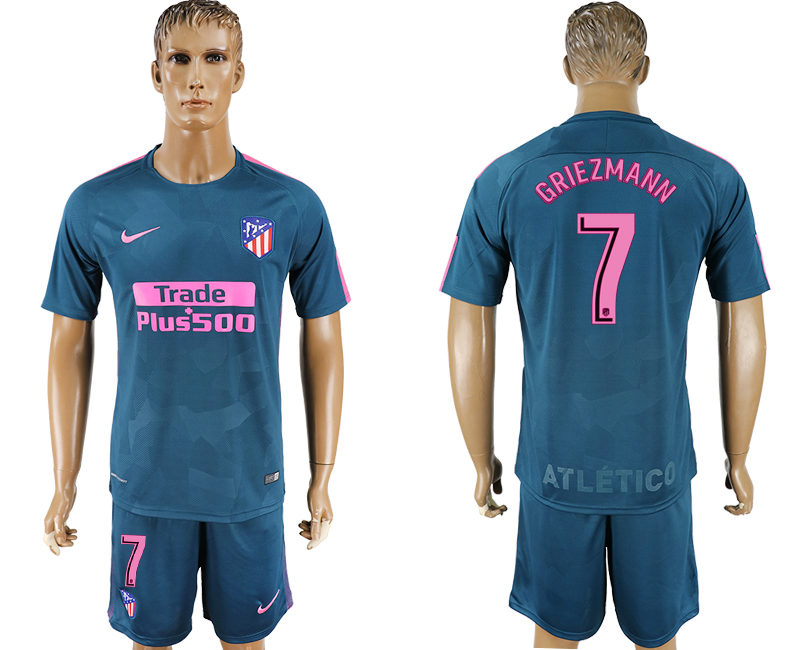 Men 2017-2018 club Atletico Madrid Second away 7 blue soccer jersey