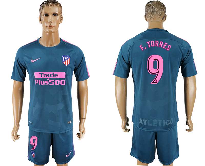 Men 2017-2018 club Atletico Madrid Second away 9 blue soccer jersey