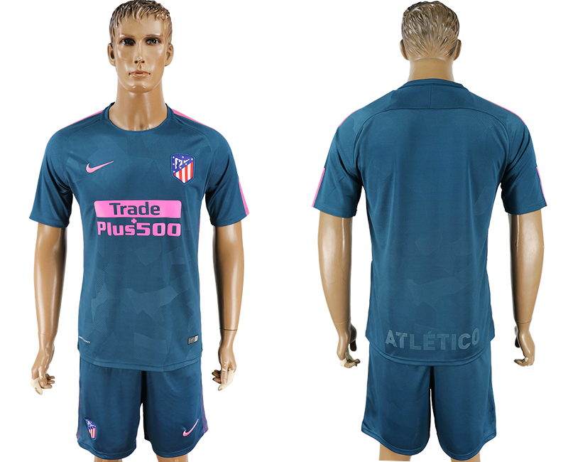 Men 2017-2018 club Atletico Madrid Second away blank blue soccer jersey