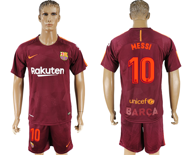 Men 2017-2018 club Barcelona away 10 red soccer jersey
