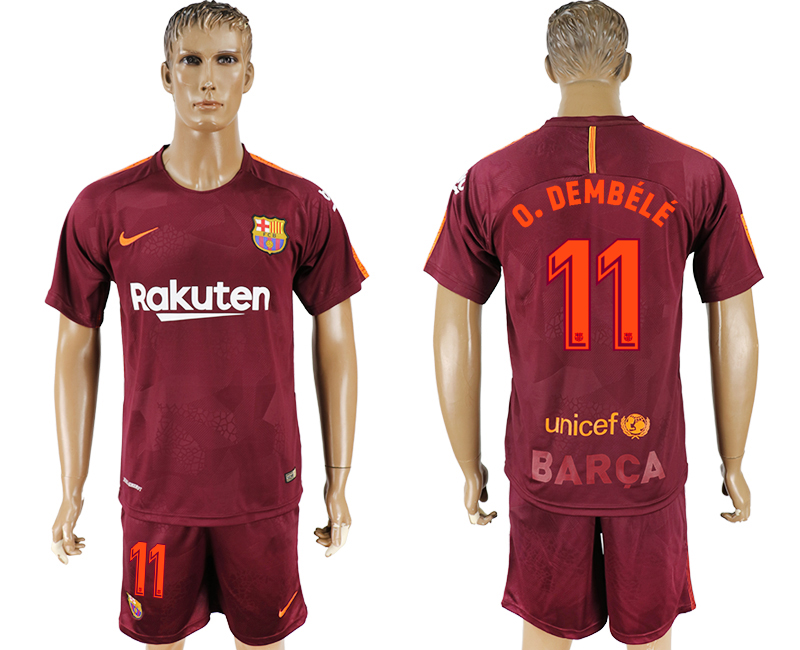 Men 2017-2018 club Barcelona away 11 red soccer jersey