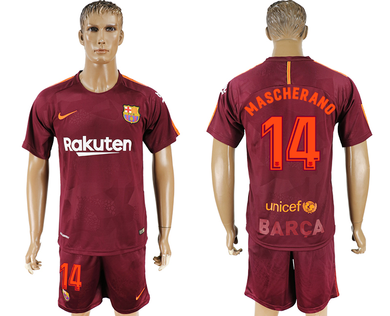 Men 2017-2018 club Barcelona away 14 red soccer jersey