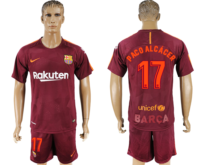 Men 2017-2018 club Barcelona away 17 red soccer jersey