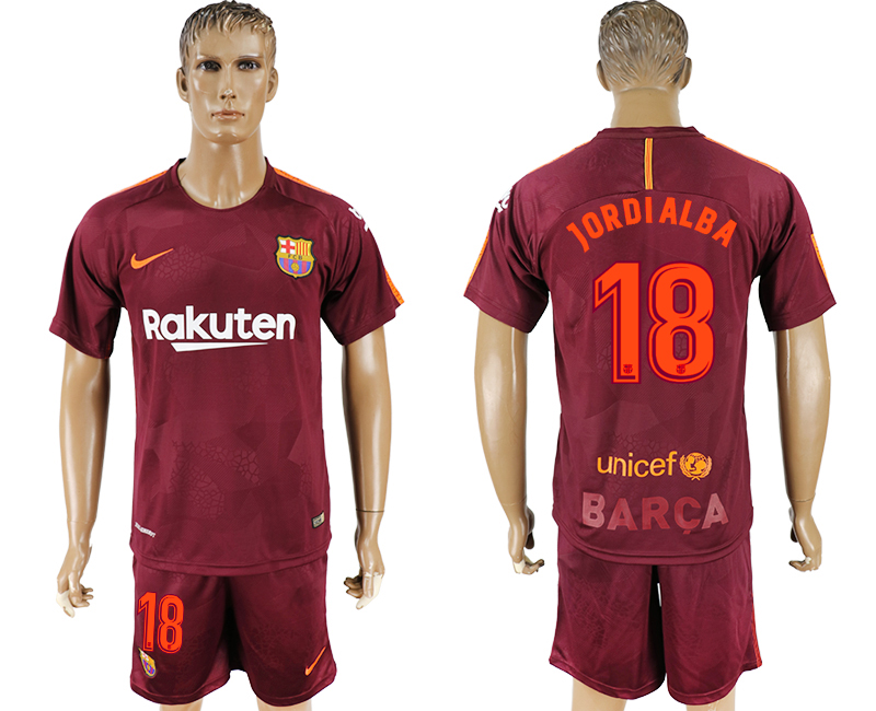 Men 2017-2018 club Barcelona away 18 red soccer jersey
