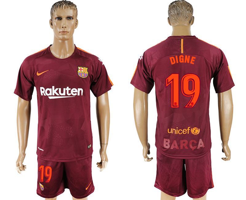Men 2017-2018 club Barcelona away 19 red soccer jersey