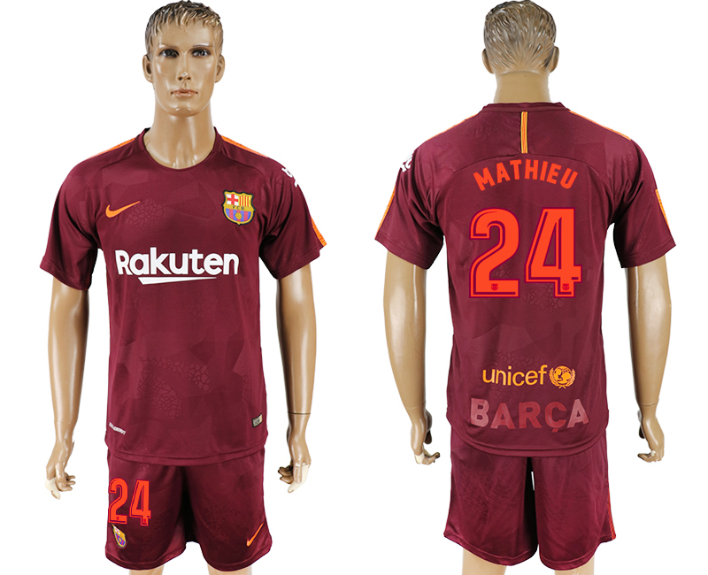 Men 2017-2018 club Barcelona away 24 red soccer jersey