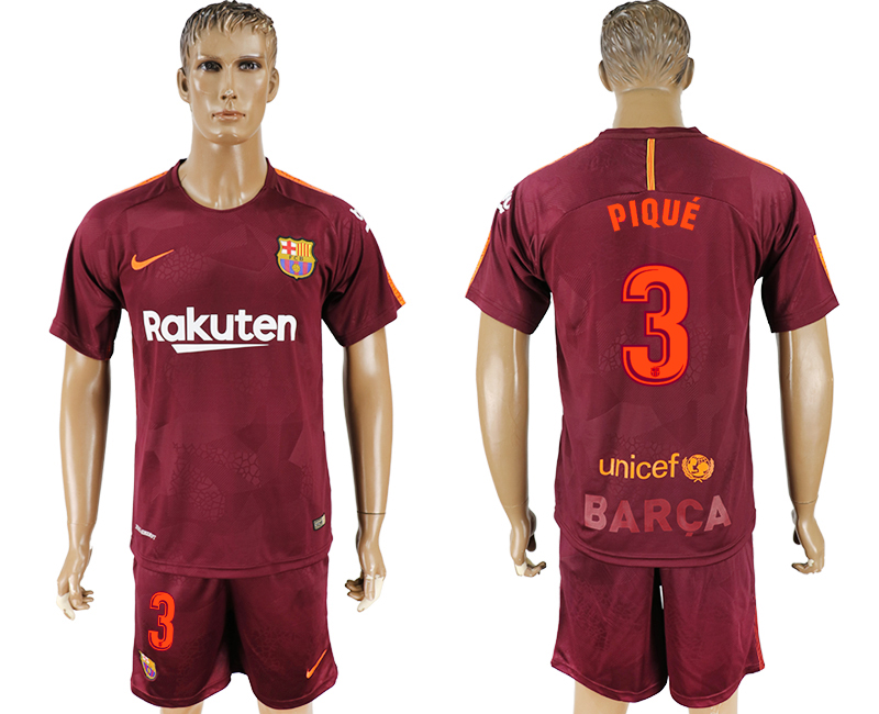 Men 2017-2018 club Barcelona away 3 red soccer jersey
