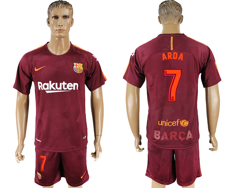 Men 2017-2018 club Barcelona away 7 red soccer jersey