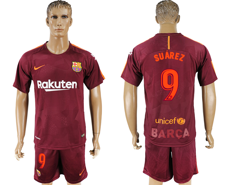 Men 2017-2018 club Barcelona away 9 red soccer jersey