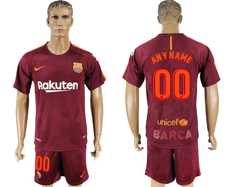 Men 2017-2018 club Barcelona away customized red soccer jersey