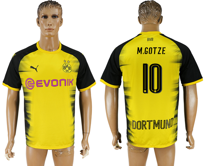 Men 2017-2018 club Dortmund international 10 yellow aaa version soccer jersey1
