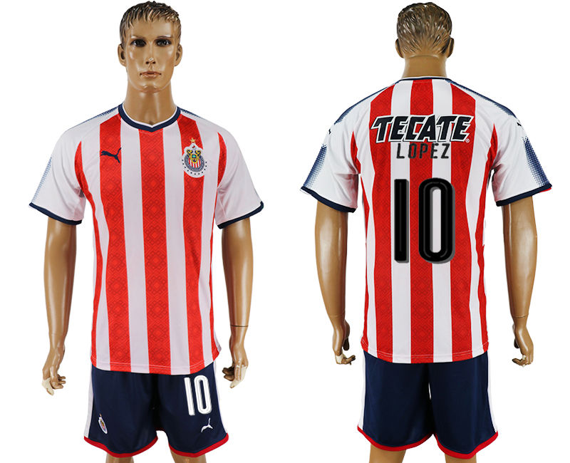 Men 2017-2018 club Guadalajara home 10 red soccer jersey