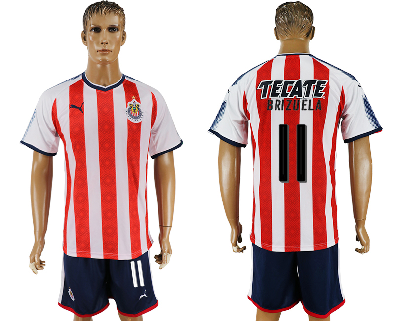 Men 2017-2018 club Guadalajara home 11 red soccer jersey