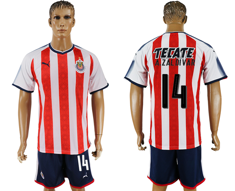 Men 2017-2018 club Guadalajara home 14 red soccer jersey