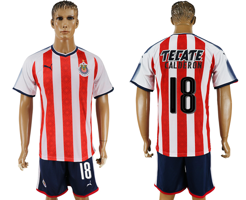 Men 2017-2018 club Guadalajara home 18 red soccer jersey