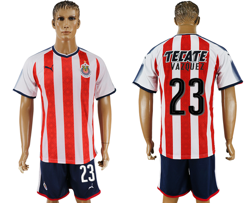 Men 2017-2018 club Guadalajara home 23 red soccer jersey