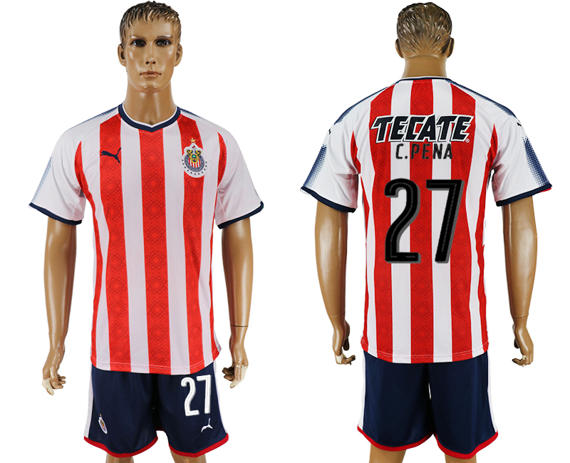 Men 2017-2018 club Guadalajara home 27 red soccer jersey