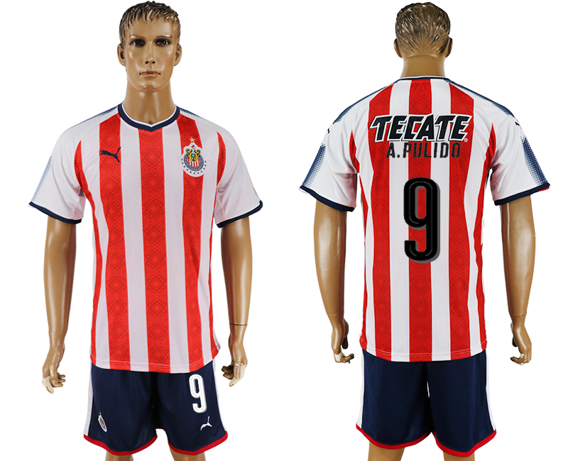 Men 2017-2018 club Guadalajara home 9 red soccer jersey