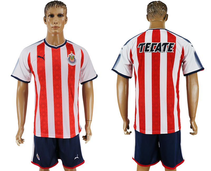 Men 2017-2018 club Guadalajara home blank red soccer jersey