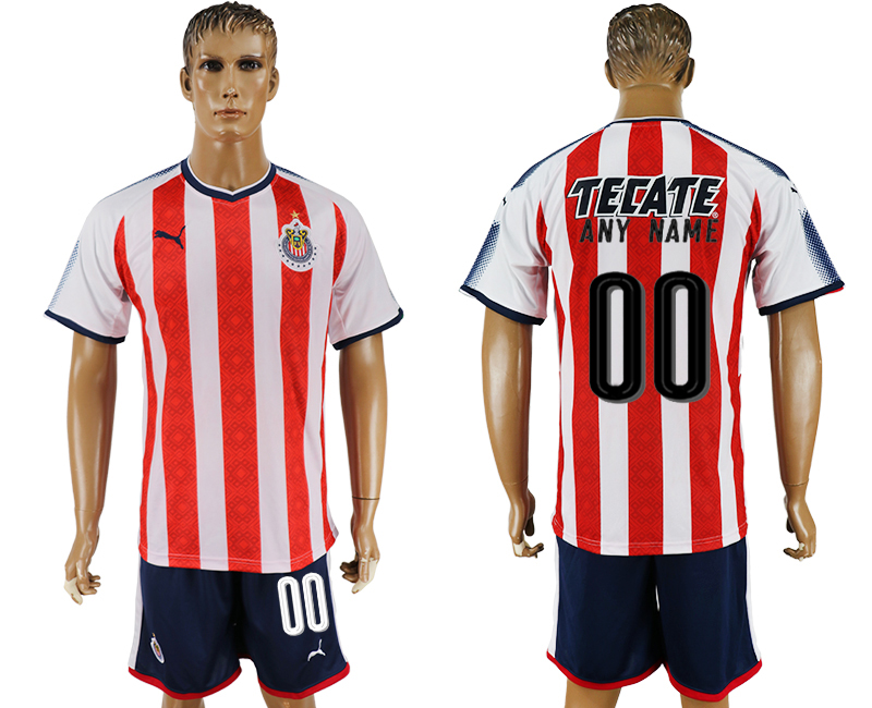 Men 2017-2018 club Guadalajara home customized red soccer jersey