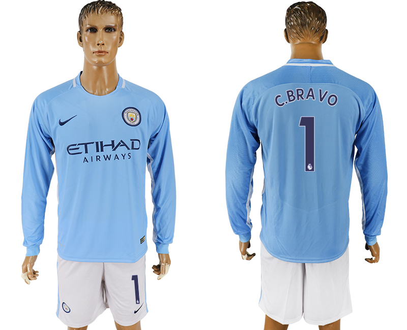 Men 2017-2018 club Manchester city away long sleeve 1 blue soccer jersey