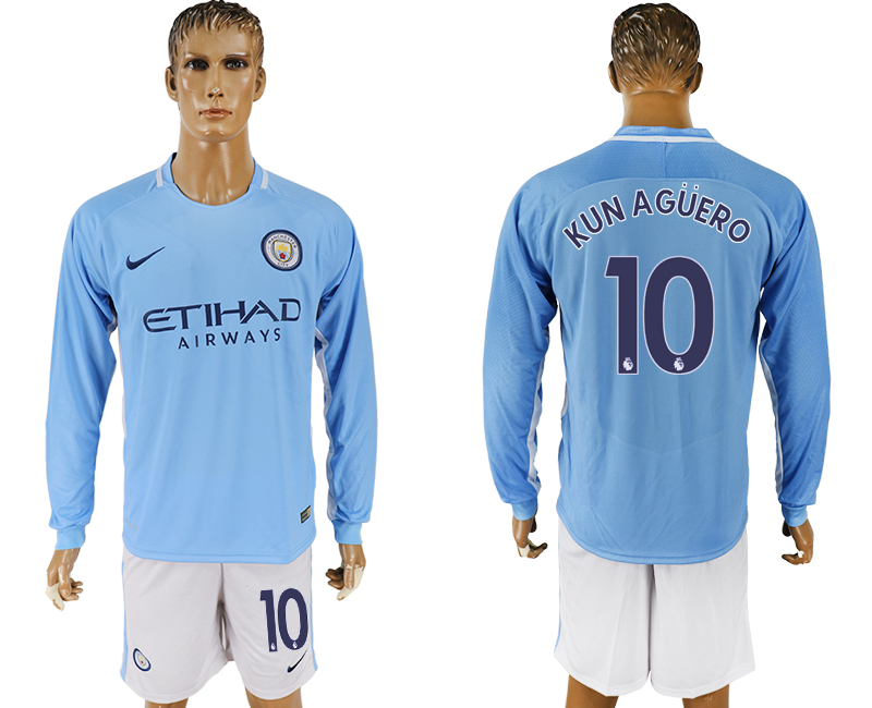Men 2017-2018 club Manchester city away long sleeve 10 blue soccer jersey