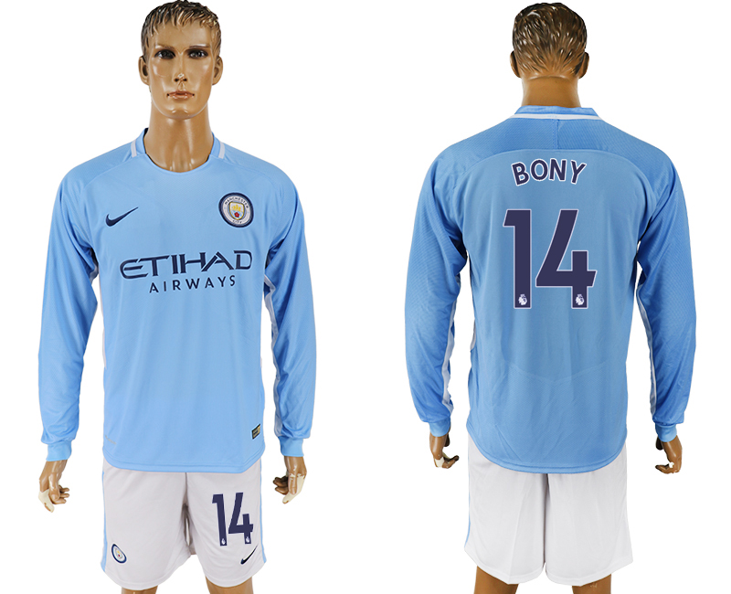 Men 2017-2018 club Manchester city away long sleeve 14 blue soccer jersey