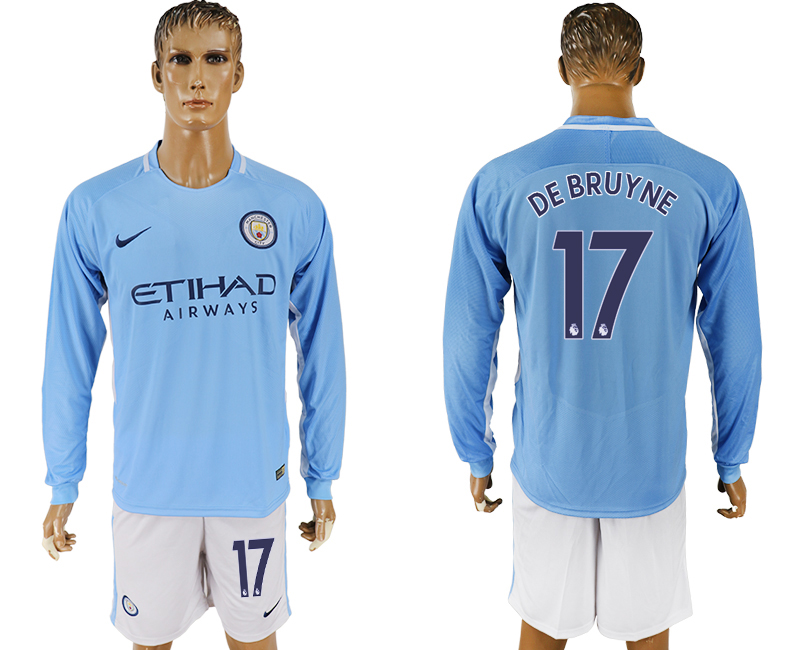 Men 2017-2018 club Manchester city away long sleeve 17 blue soccer jersey
