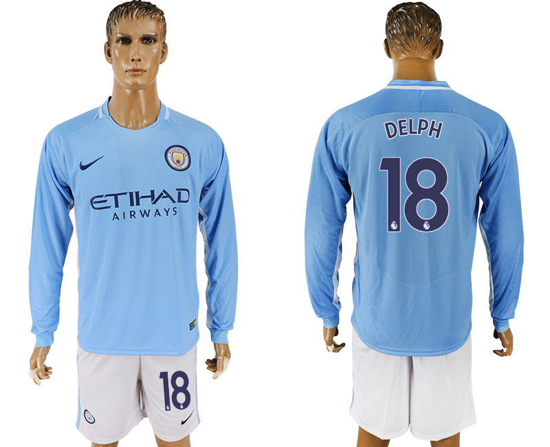 Men 2017-2018 club Manchester city away long sleeve 18 blue soccer jersey