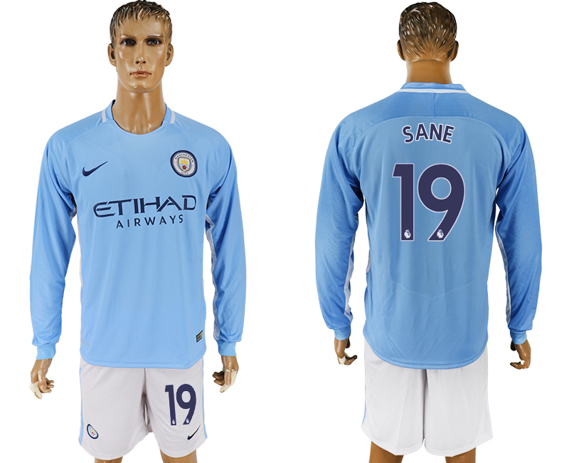 Men 2017-2018 club Manchester city away long sleeve 19 blue soccer jersey
